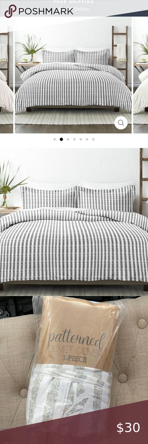 Gray Striped Duvet Cover Full Sized In 2020 Striped Duvet Covers Full Duvet Cover Striped Duvet