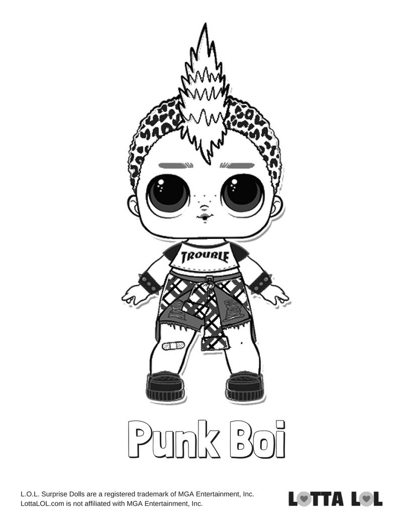 Punk Boi Coloring Page Lotta LOL
