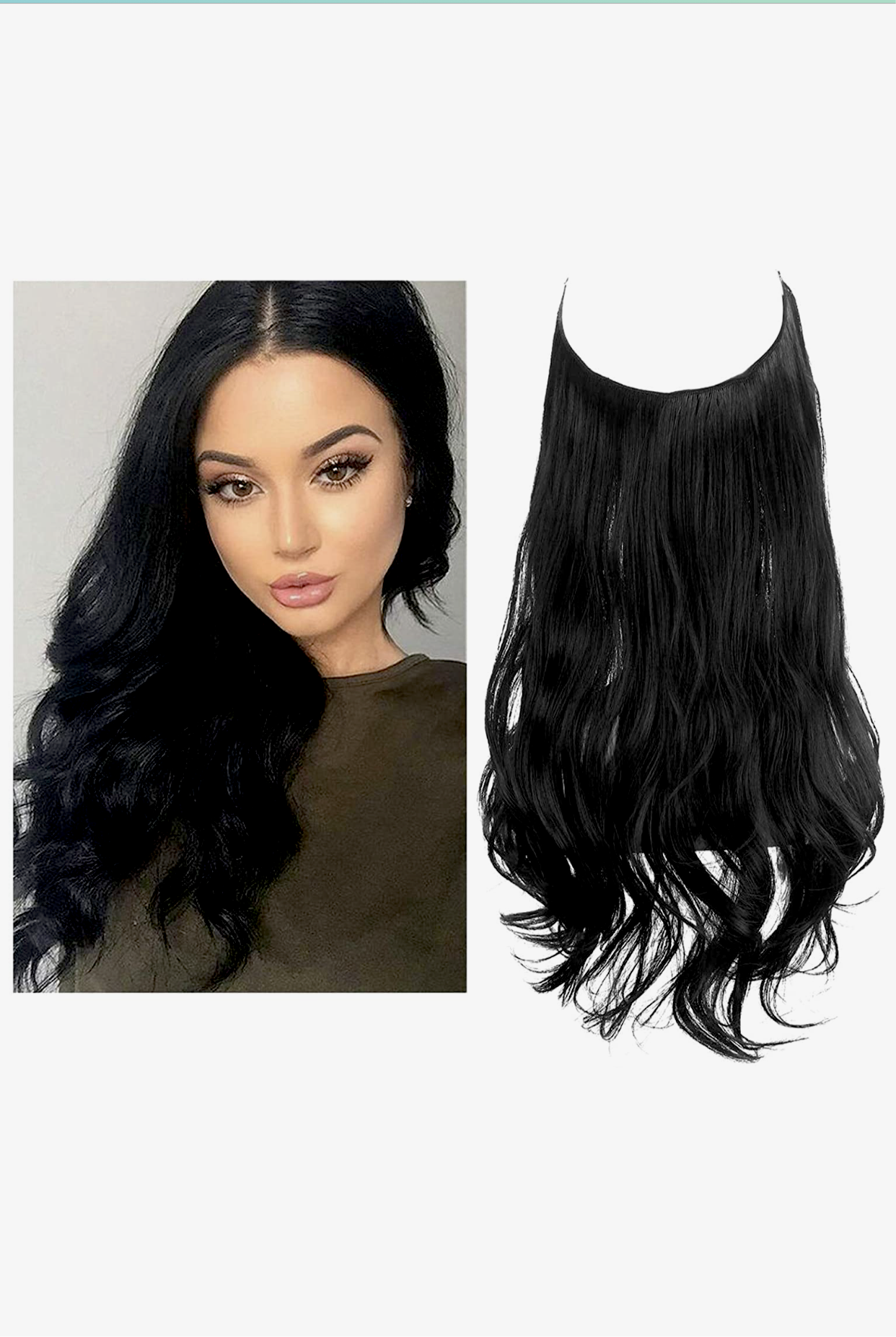 FRENCH Halo Extensions   SIZE 22 weight 125 gram / Natural Curly Gallery