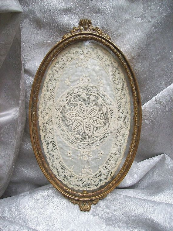 Antique Lace DOILY Framed behind Glass in Ornate Gilded Metal VANITY TRAY -  marked Apollo - Antique Lace DOILY Framed Behind Glass In Ornate Gilded Metal