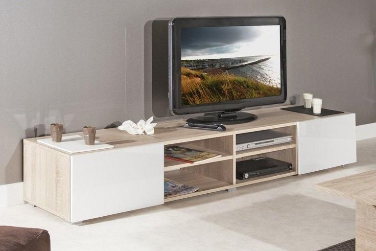 Destockage atlantic meuble tv couleur blanc et chene for Modele meuble salon