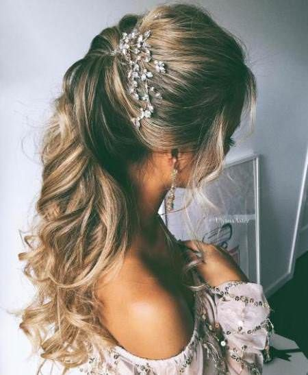 Ponytail Hairstyles For Long Hair 20 Best Half Up And Half Down Wedding Hairstyles  Ponytail Curly