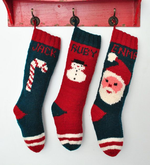 Knitted Christmas Stockings / Personalized by CampKitschyKnits ...