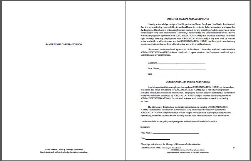 Sample Employee Handbook Employee Handbook Employee Handbook Template Cover Letter Template