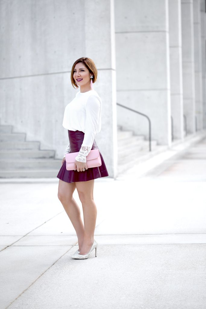 dccb7bdee4 Blame it on Mei, Miami Fashion Blogger, 2017, Valentine's Day Look, Date  Night Outfit, White Blouse with Burgundy Maroon Short Skater Skirt, Pink  Diana Tory ...