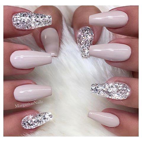 pincarmelita on hair  nails  white glitter nails