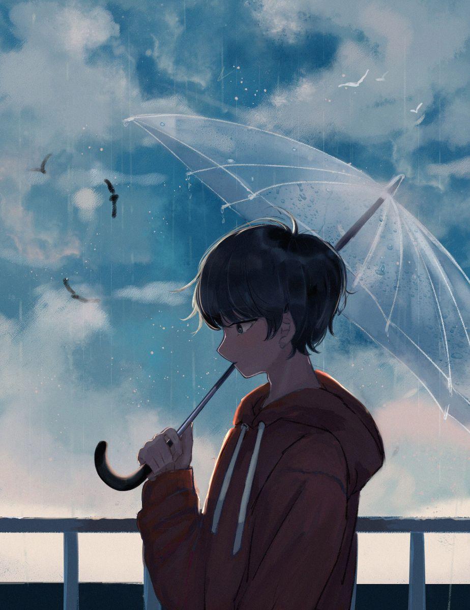 Animeboy Umbrella Rain Gambar Sedih Gambar Animasi Kartun Gambar Anime