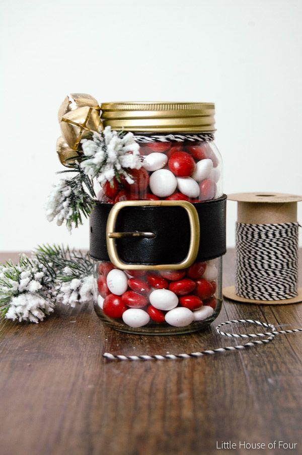 Dollar Store Santa Belt Jar Christmas Jars Christmas Mason Jars Dollar Store Christmas