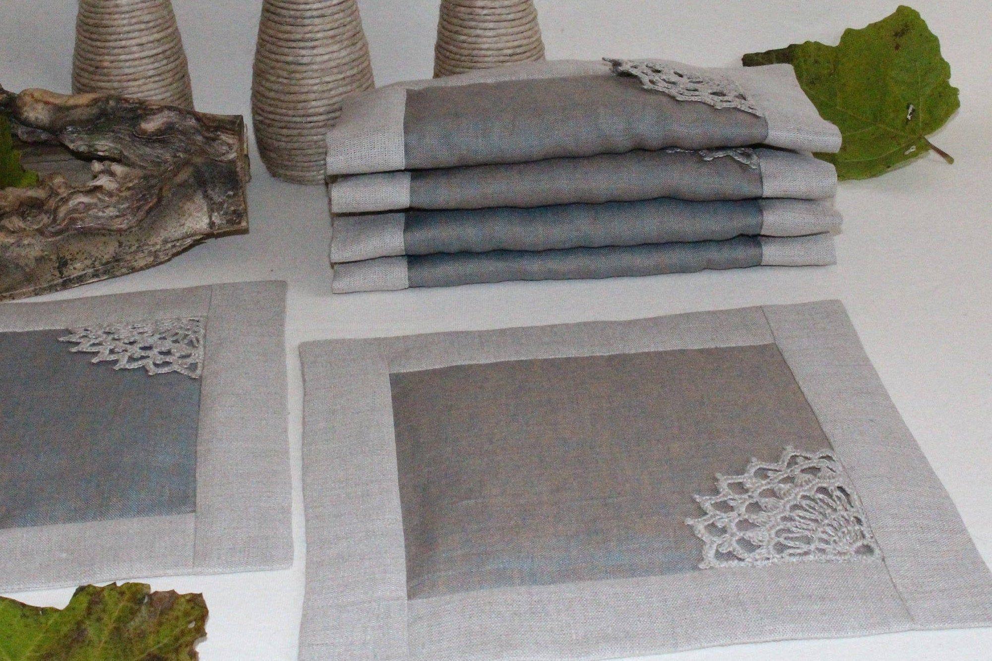 Linen Placemats Square Placemats Gray Pure Linen Table Napkins Cloth Placemats Farmhouse Decor Square Placemats Linen Placemats Fabric Coasters