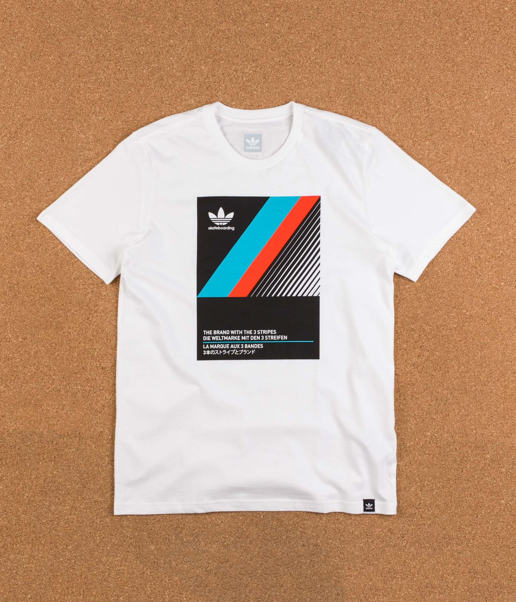66d0f2cd Adidas VHS Block T-Shirt - White / Black / Energy Blue / Energy ...