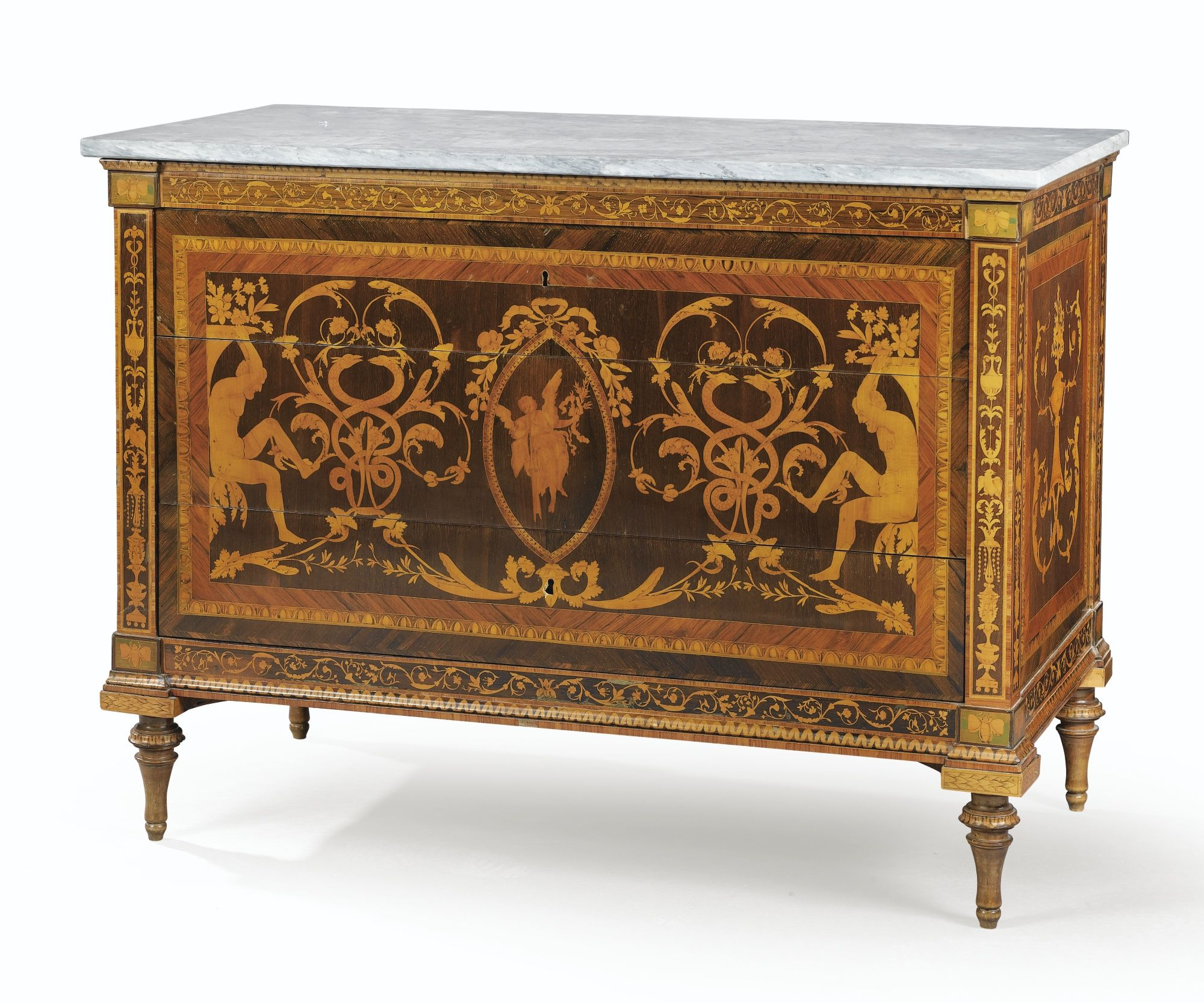 An italian marquetry commode late 18th century workshop for Mobili italiani design