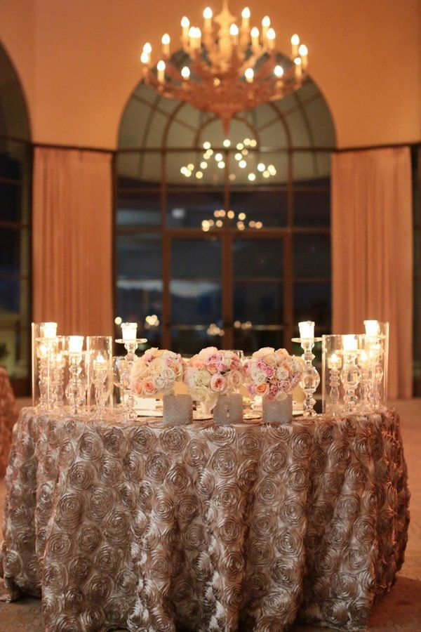 Sweetheart Table With Silk Rose Tablecloth Myweddingdotcom Roses All White Wedding Gold