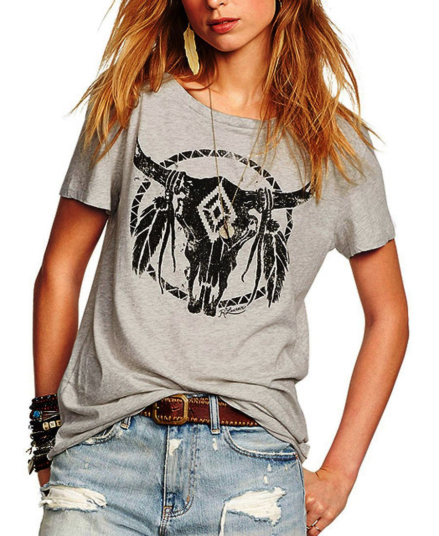 d75d7d426729 Boho Bull Skull Tee Decoration  Embroidery Fabric Type  Broadcloth  Material  Cotton Collar  O-Neck