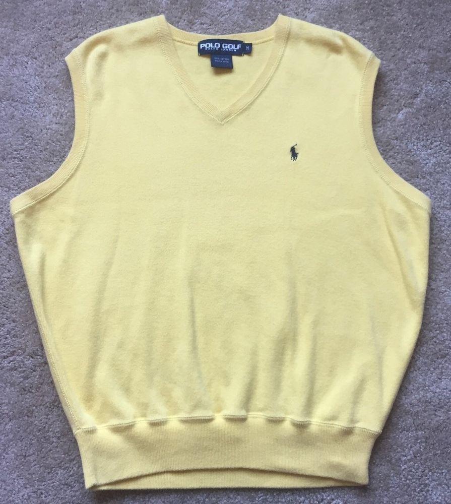 Polo Golf Ralph Lauren Men's Yellow Sleeveless Cotton Sweater Vest ...