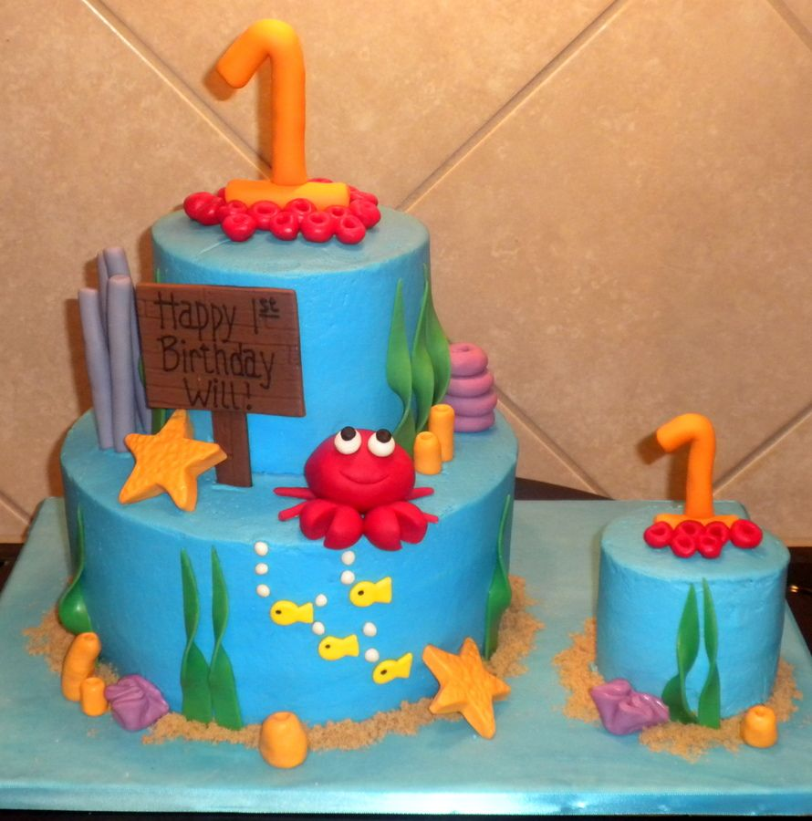 Under The Sea 1st Birthday Children S Birthday Cakes Smash Cake Boy Boy Birthday Cake Childrens Birthday Cakes