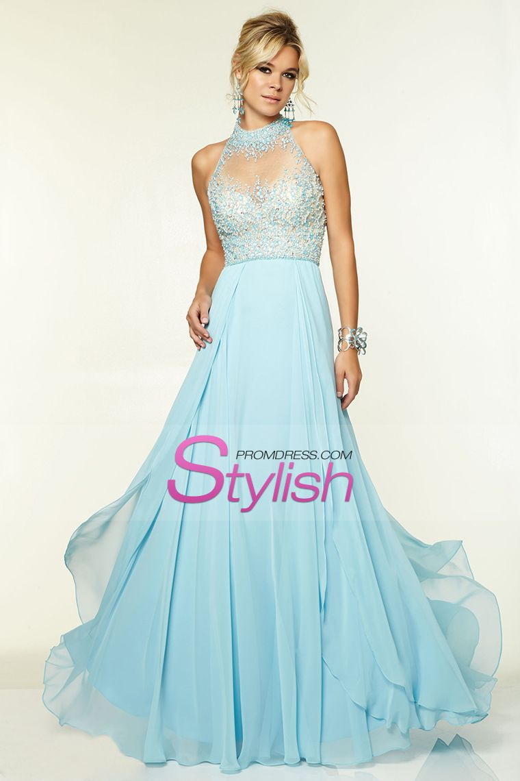 high neck prom dresses a line with beading chiffon floor length