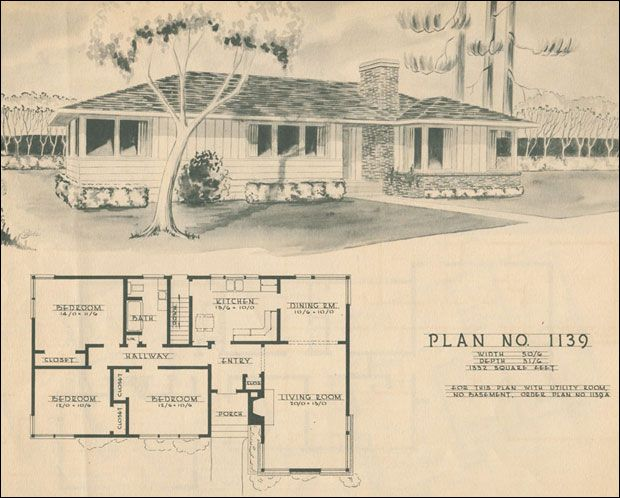 Mid Century Modern House Plans 1950 Modern Ranch Style House Plan