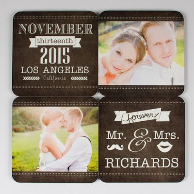 Make your own coasters!  Use any photo, art, or text, but this with wedding photos would make such a cute anniversary gift or first Christmas gift!  Details at the link.