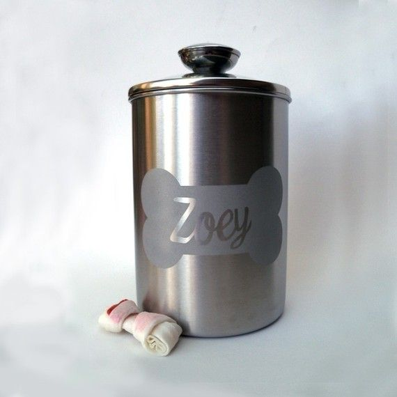 8.5 in - Personalized Dog Treat Jar with Name in Bone from Lucky Pups