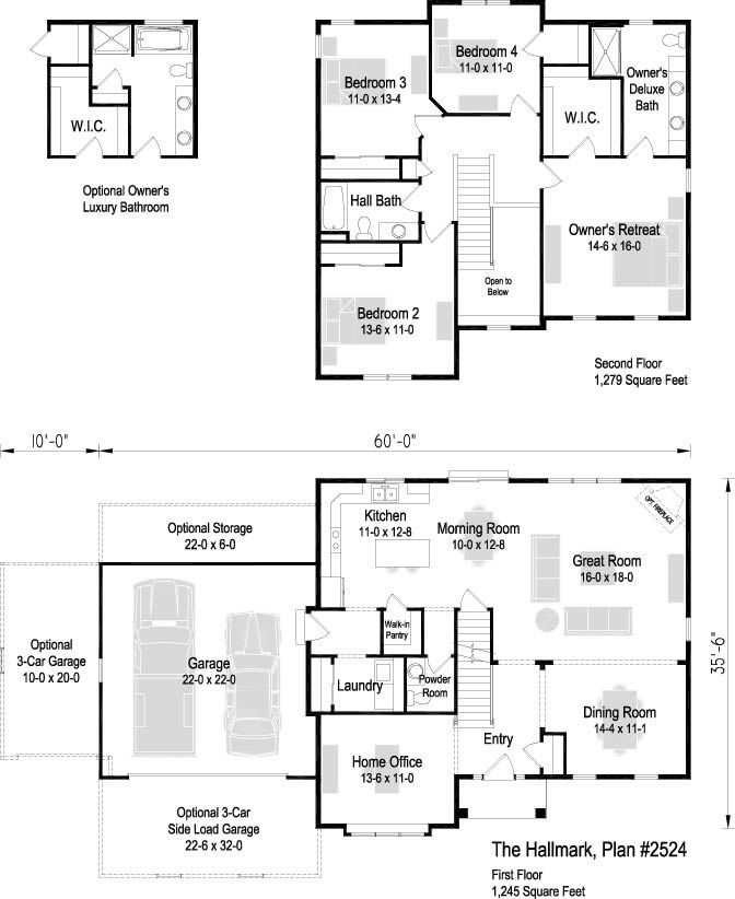 The Hallmark Plan 2524 2 Story 2 524 Sq Ft 4 Bedroom 2 5 Bath Floor Plans How To Plan House Plans