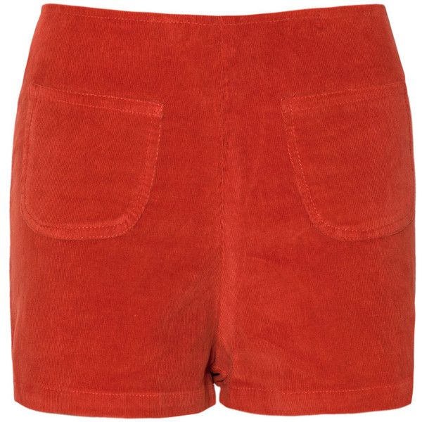 Kat High Waisted Shorts in Baby Cord Copper by Motel (195 ARS) ❤ liked on Polyvore featuring shorts, zipper shorts, highwaist shorts, high-rise shorts, high-waisted shorts and high rise shorts