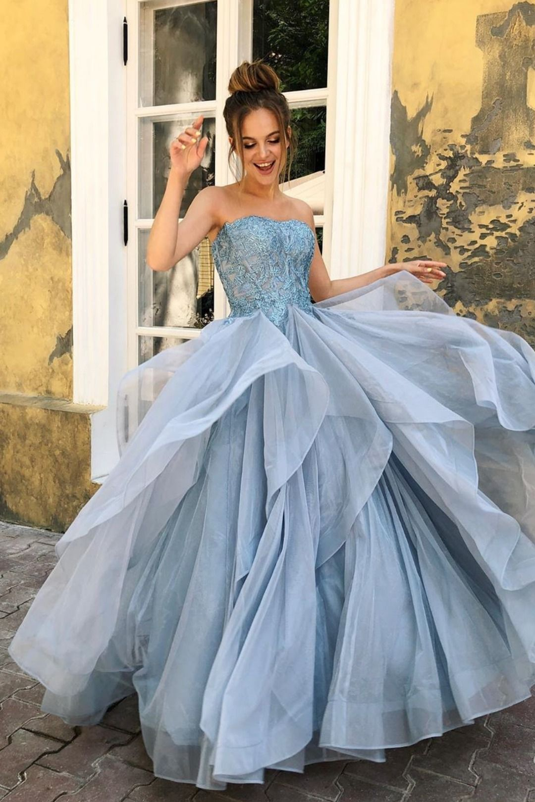 2020 Long Prom Dresses, Strapless Blue Prom Dresses