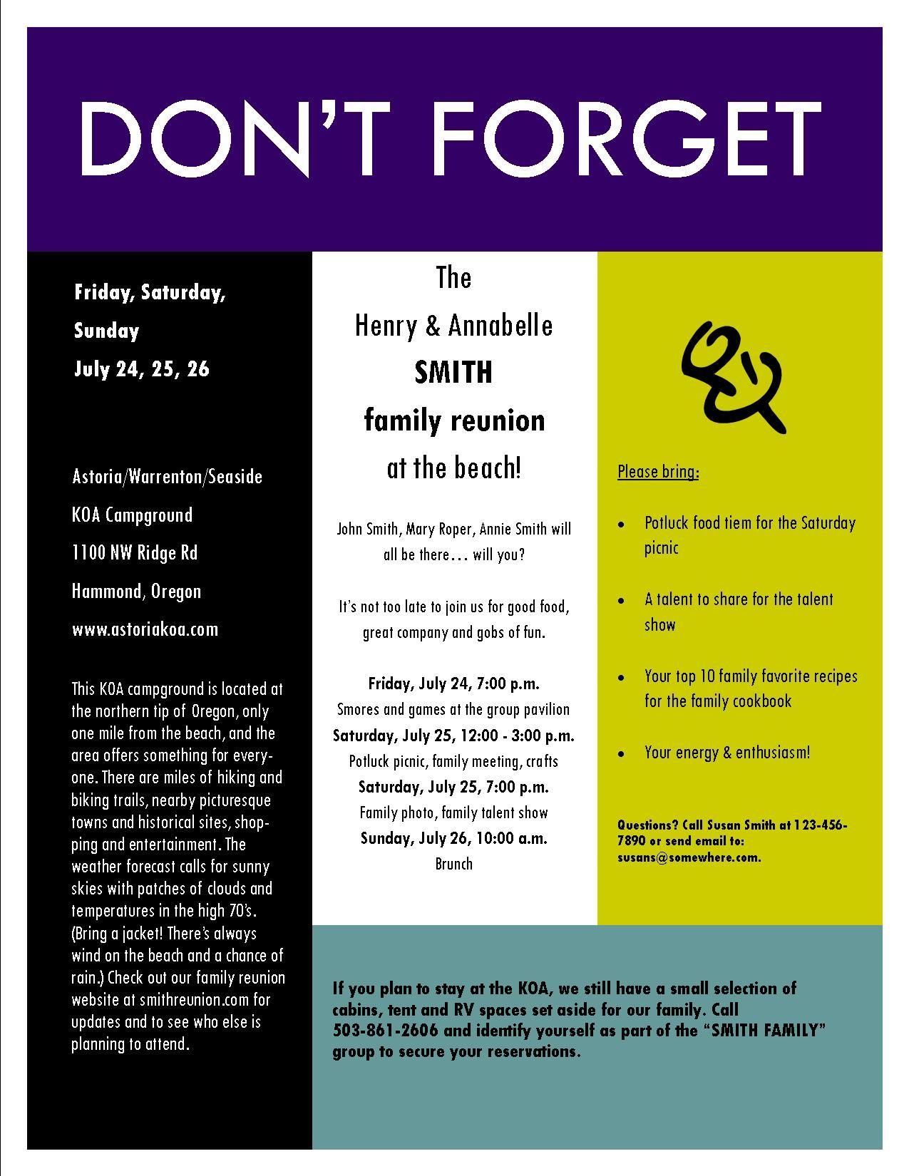 sample family reunion invitation flyer