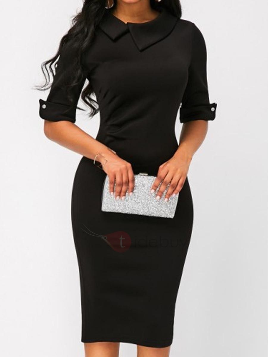 Simple Black Half Sleeve Women S Bodycon Dress Black Sheath Dress Fashion Straight Dress [ 1200 x 900 Pixel ]