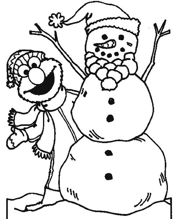 Snowman And Elmo Coloring Pages | Adult Doodle Art and Colouring for ...