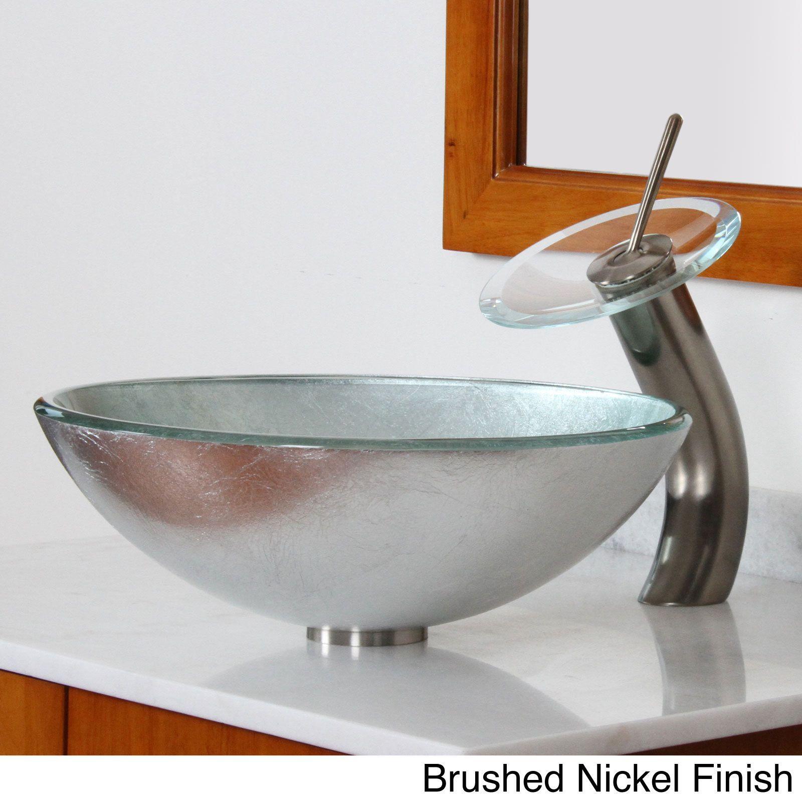 Elite Modern Tempered Glass Bathroom Vessel Sink with Wrinkles ...