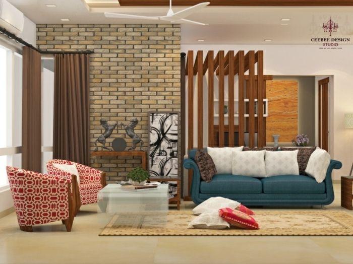 separadores de ambientes, salón acogedor con muebles modernos ...