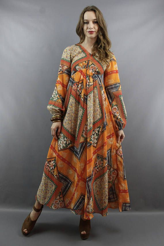 Hippie Dress 1970s 70s Maxi Hippy Boho Bohemian Festival Fall Dr