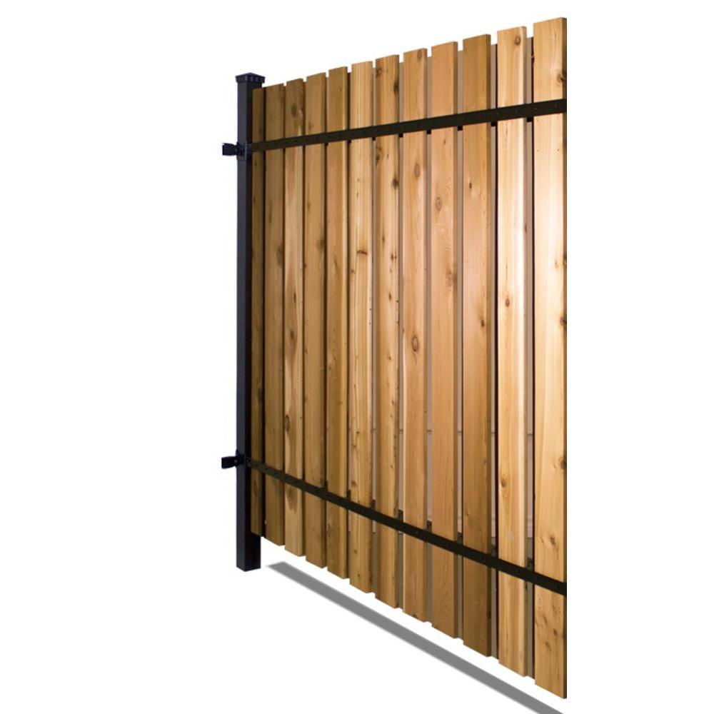 wood fence panels door. Black Aluminum Corner Post Fence Panel Kit With 10 Wood Panels Door F