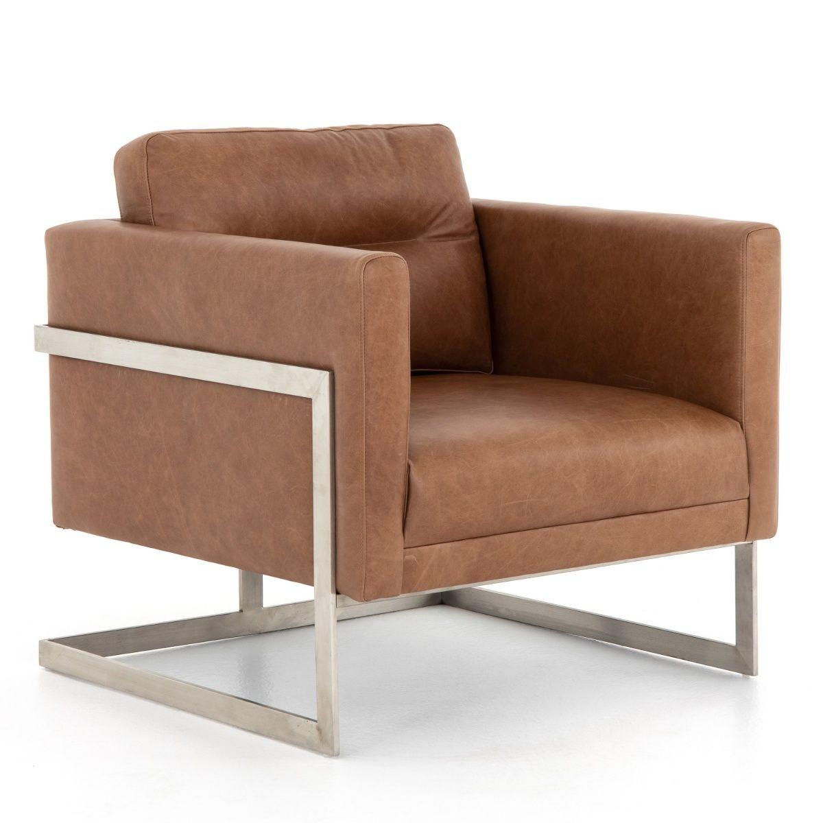 Fiona Modern Tan Leather Club Chair Leather Club Chairs Club