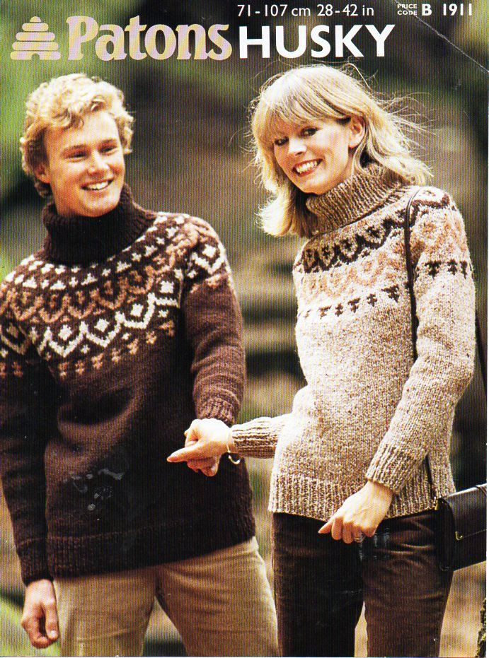womens mens chunky fair isle sweater knitting pattern PDF ladies ...