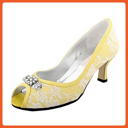 c7275c7c33981 Minishion Womens Peep Toe Kitten Heel Flower Yellow Lace Bridal Wedding  Shoes Sandals 8 M US - Sandals for women (*Amazon Partner-Link)