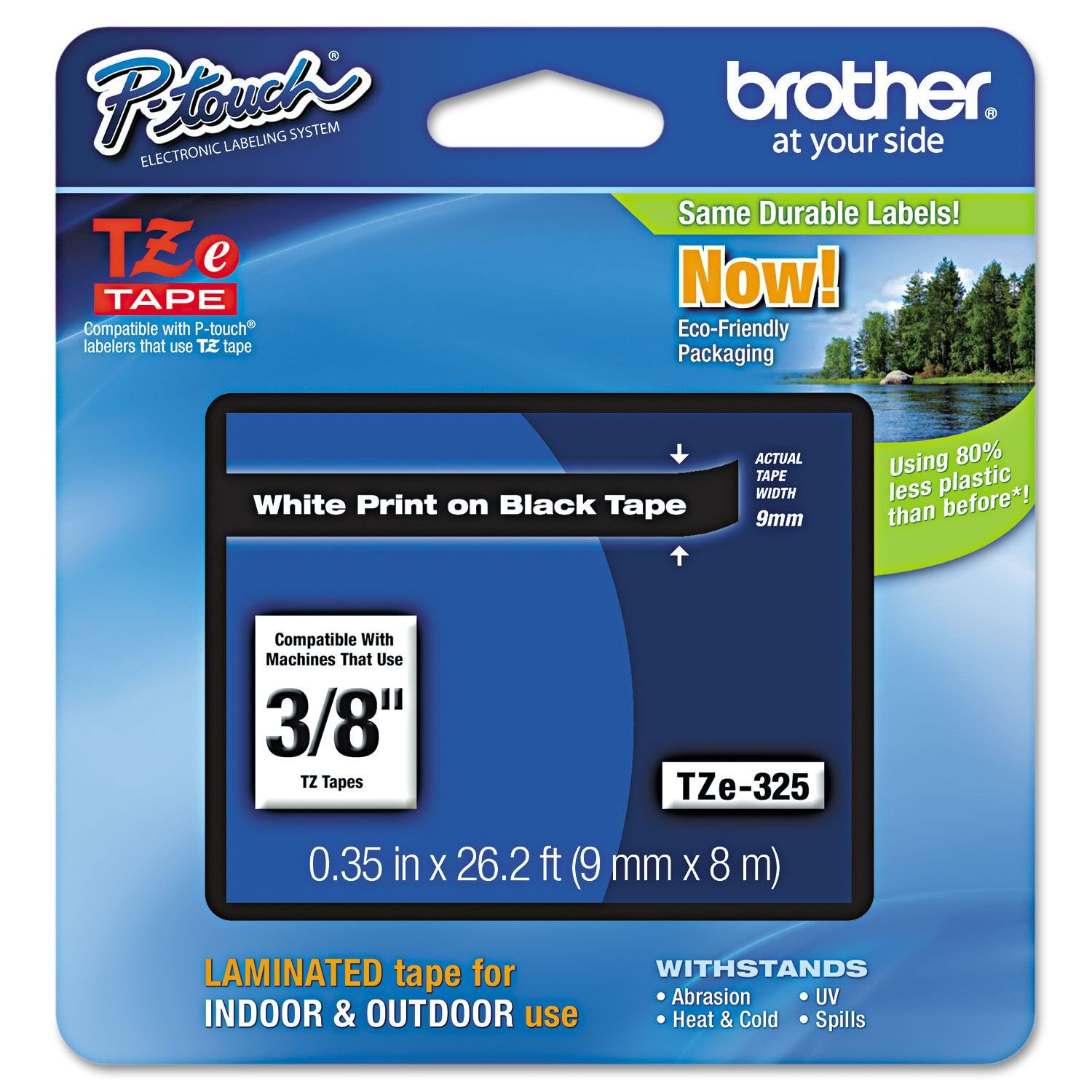 Brother P-Touch TZe Standard Adhesive d Labeling Tape 3/8w White on
