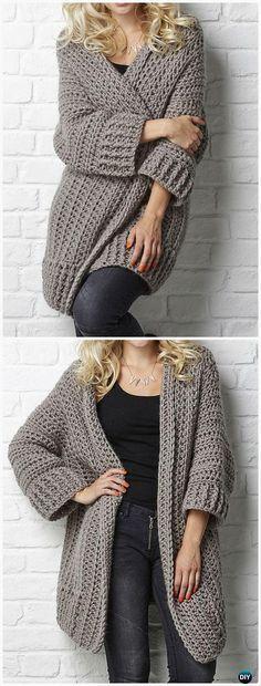 Crochet Big Chill cardigan Pattern - Women Sweater Coat-Cardigan ...