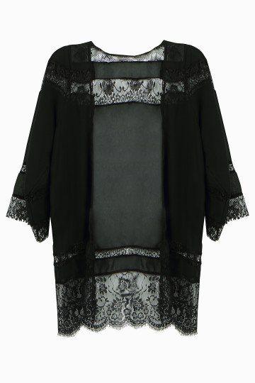 cc06f7067357 Kimono de encaje transparente con manga larga Boho negro - US$11.95 -YOINS  Borde De