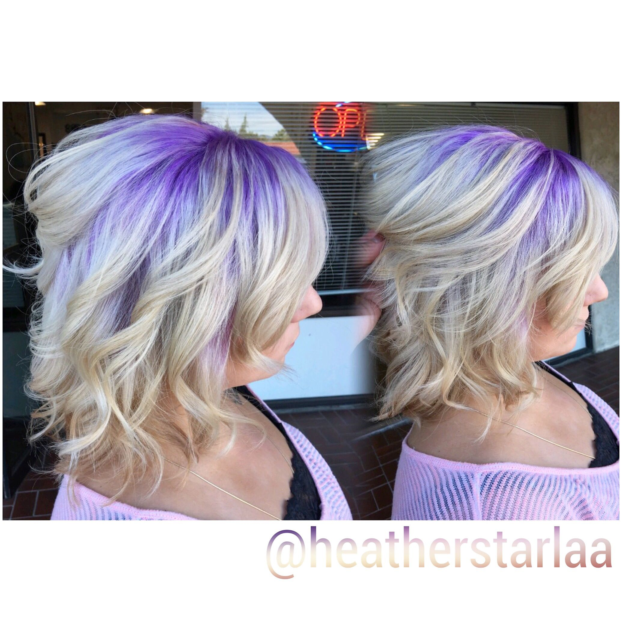 Pastel purple shadow root Blonde hair Lavender hair Lavender
