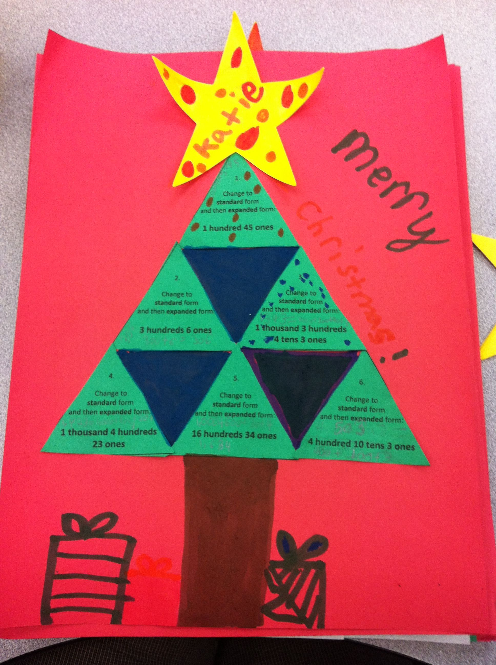 Place Value Christmas Tree Paper Craft Place Value Addition And