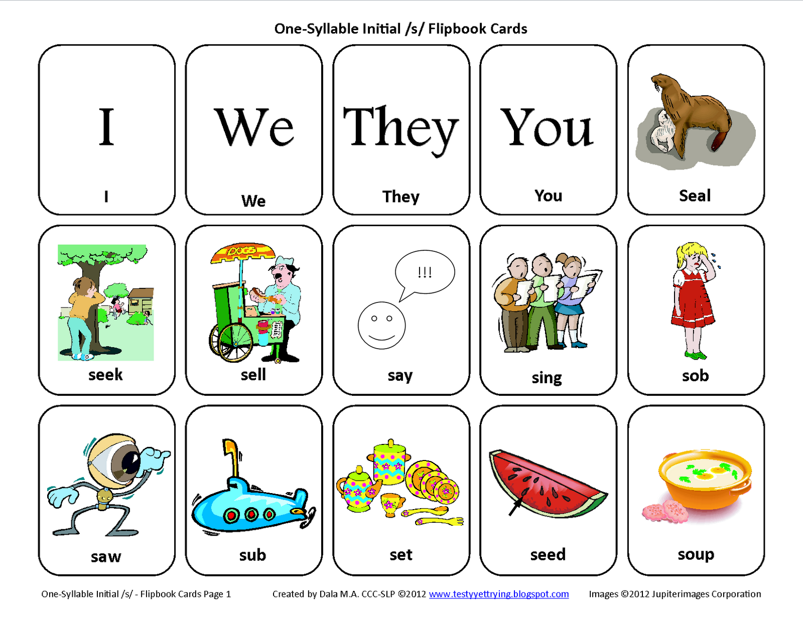 Initial S Free Speech Therapy Articulation Picture