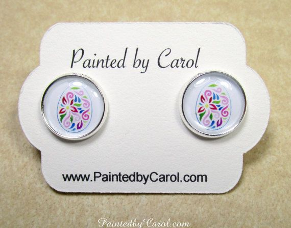 Easter Egg Earrings  Colorful Floral Paschal Egg by PaintedbyCarol