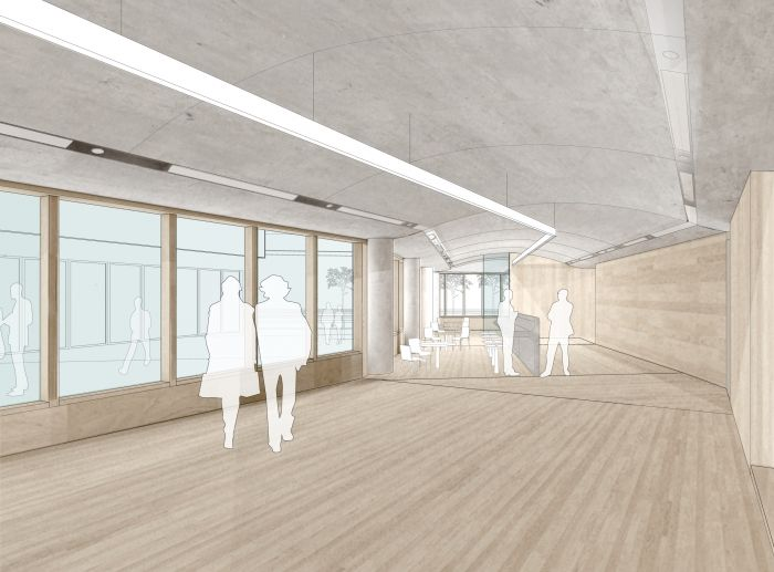 September 2011 rendering of Sitra\'s ground floor showing the timber ...
