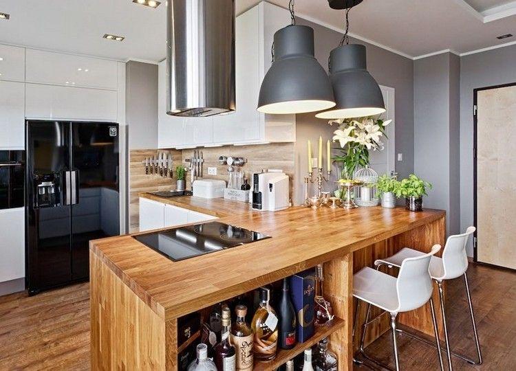 Küche In G Form Mit Halbinsel Aus Holz