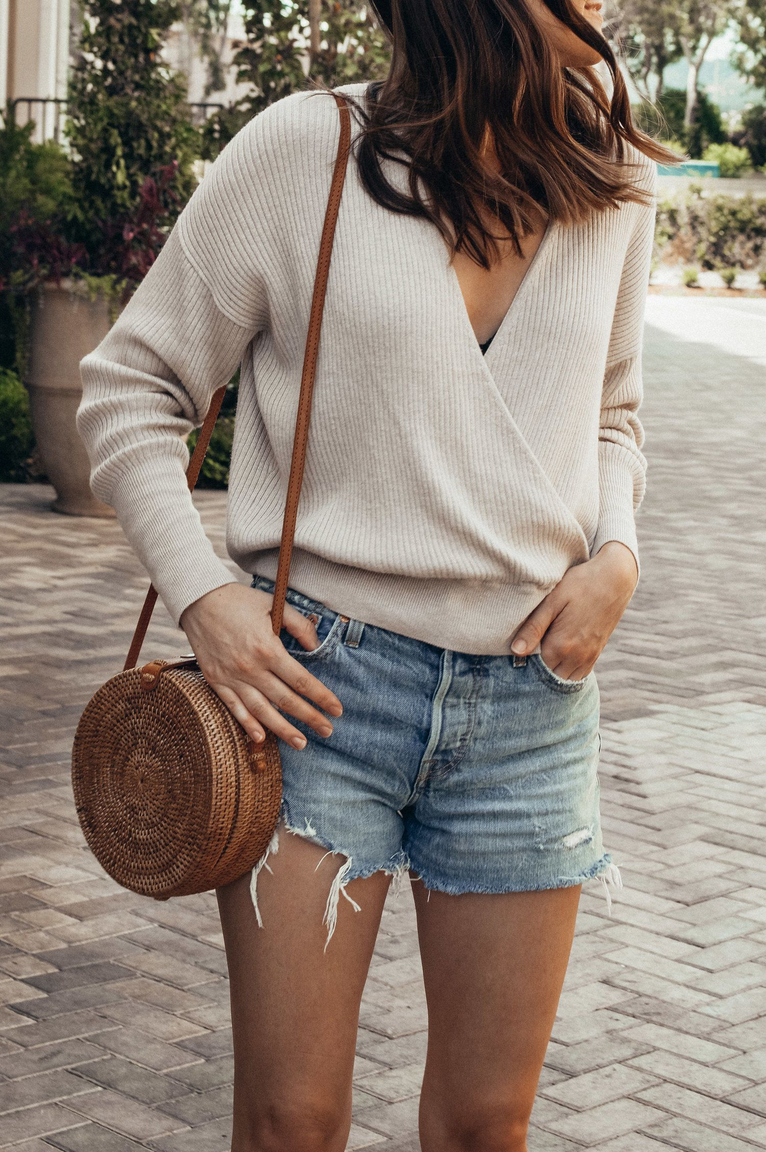 Faux Wrap Sweater and Denim Shorts
