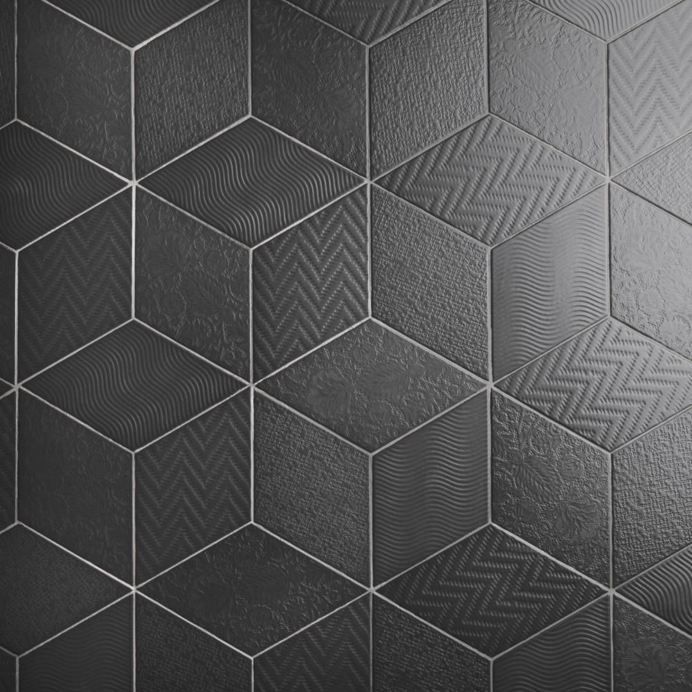 Merola Tile Rhombus Black 5 1 2 In X 9 1 2 In Porcelain Floor And Wall Tile 11 68 Sq Ft Case Feq Black Floor Tiles Floor Tile Design Porcelain Flooring