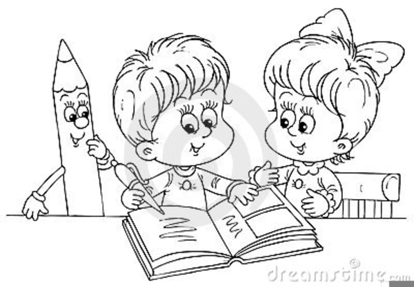 Kids Playing Black And White Clipart School Coloring Pages Coloring Books Kids Reading Books