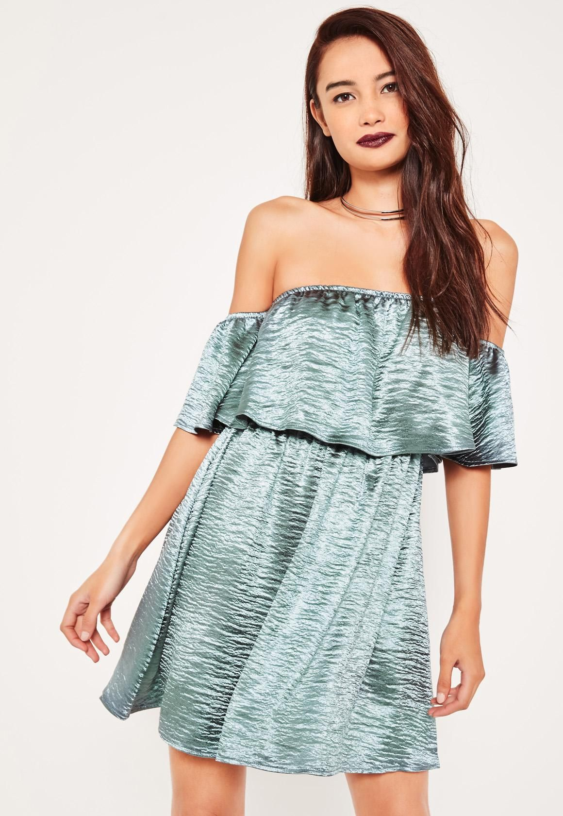 3dd73e8ec014 Missguided - Blue Silky Bardot Shift Dress
