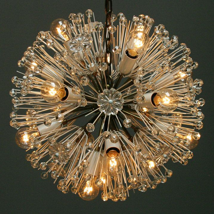 Verlichting, Beautiful 17-light blossom chandelier by Emil Stejnar for Nikoll, vintage.